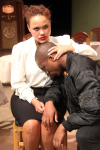 Maria (Sasha-Lee Kelly) and Paulie (Oupa Sibeko). Photograph by Ruphin Coudyzer