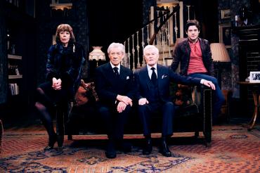 The cast of Vicious: (from left) Frances de la Tour (Violet); Sir Ian McKellen (Freddie); Sir Derek Jacobi (Stuart); Iwan Rheon (Ash). Photograph by Gary Moyes.