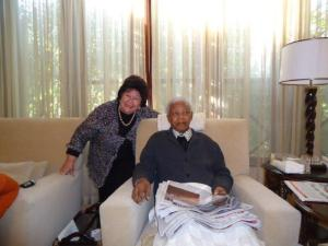 Jeanne Zaidel-Rudolph with Nelson Mandela. Photograph courtesy Jeanne Zaidel-Rudolph.