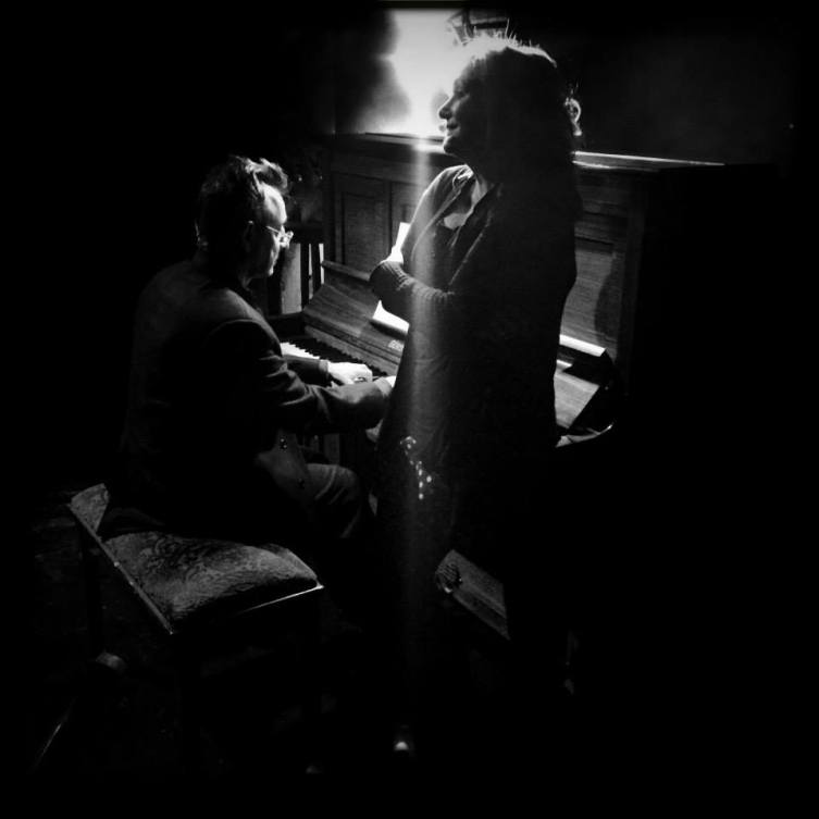 Doing it in the dark: Tony Bentel on the piano, with Fiona Ramsay on vocals. Photograph by Germaine De Larch.